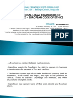 International Legal Framework of Franchising - European Code of Ethics SERBIA 2011