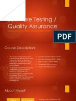 Software Testing & QA -- Course Outline -- 2014JAN18
