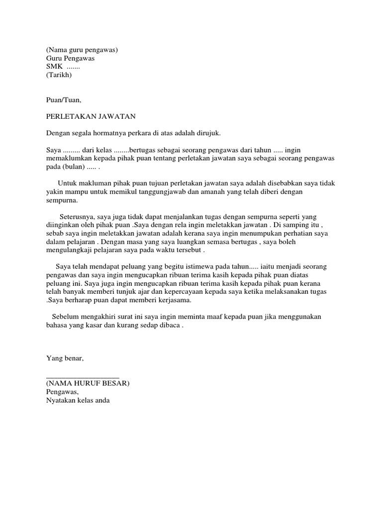surat perletakan jawatan sebagai seorang pengawas
