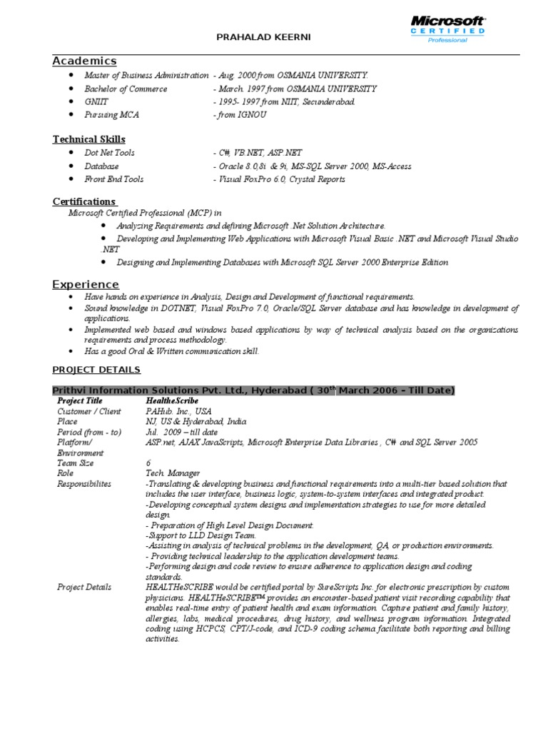 Sample Resume Microsoft Sql Server Web Application