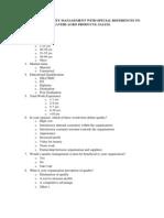 Quality Management Questionnaire
