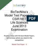 Csir Model Paper -III