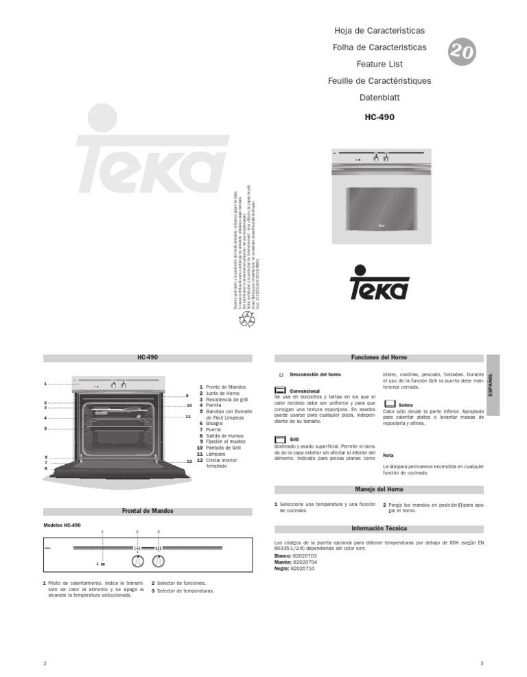 Teka Hc 490 Horno-manual