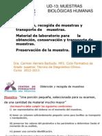 UD-13 Muestras Biológicas humanas, Obtencion, recogida y transporte