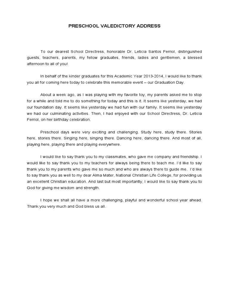 Preschool Valedictory Address – Salutatorian Speech Examples