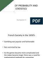 Sejarah Perkembangan Statistik Dan Kebarangkalian