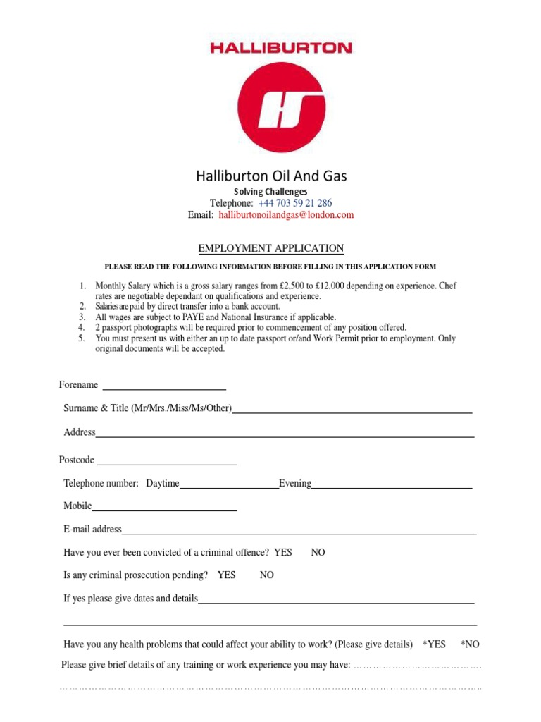 The Halliburton Employment Application Form | Passport | Salary