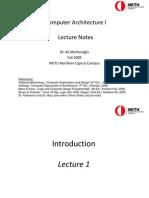 Computer Architecture I Lecture Presentation 1