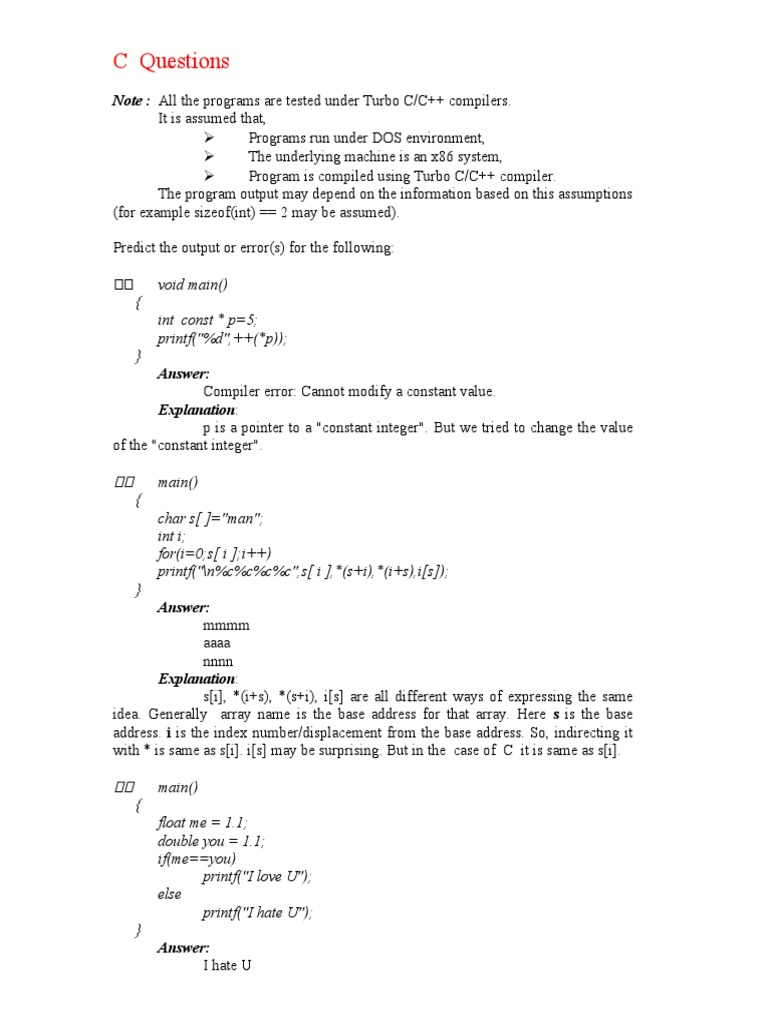 c questions | Pointer (Computer Programming) | Computer