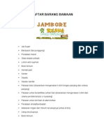 Daftar Barang Bawaan Jambore Si Bolang 2013 - Revisi