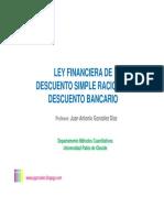 Ley Financiera de Descuento Simple Racional y Dto Bancario