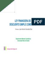 Ley Financiera de Descuento Simple, Comercial