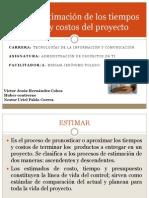 Estimación de los tiempos y costos del proyecto