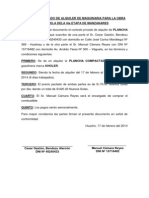 Contrato Privado de Alquiler de Maquinaria Para La Obra Plazuela Dela 4ta Etapa de Manzanares