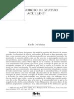 Durkheim El Divorcio de Mutuo Acuerdo