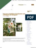 Faça um comedouro de pássaros com reciclagem de tetrapack - Vila do Artesão