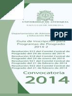 Convocatoria de Posgrado 2014, Facultad de Medicina - UdeA