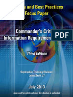 Insights and Best Practices Focus paper, Commander's Critical Information Requirements, third edition (2013) Deployable Training Division J7