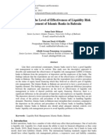 A Survey on the Level of Effectiveness of Liquidity Risk Management of Islamic Banks in Bahrain