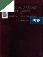 Medical Axioms, Aphorisms, and Clinical Memoranda