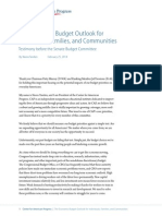 The Economic Budget Outlook for Individuals, Families, and Communities