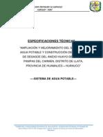 Especificaciones Tecnicas Sistema de Agua