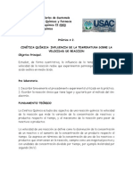 Practica 2 Fisico Quimicos Influencia de Temperatura en La Velocidad de Reaccion