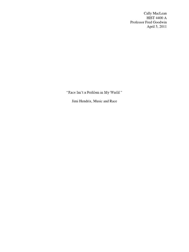 Research paper on jimi hendrix