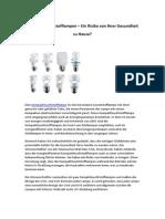 Kompaktleuchtstofflampen – Ein Risiko von Ihrer Gesundheit zu Hause