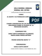 CUADRO COMPARATIVO DE LOS DOCUMENTOS ANALIZADOS SOBRE LA CALIDAD DE  LA PROFESIÓN DOCENTE