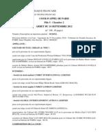 COUR D'APPEL DE PARIS Pôle 5 - Chambre 2 ARRET DU 14 SEPTEMBRE 2012