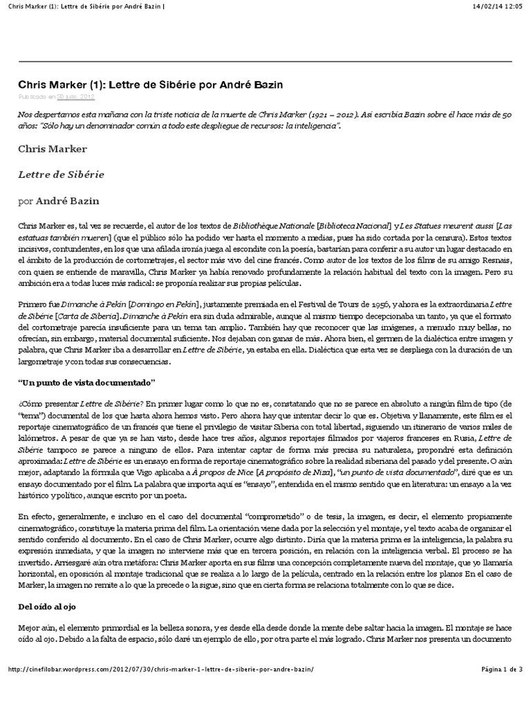 Chris Marker Lettre De Sibérie Por André Bazin