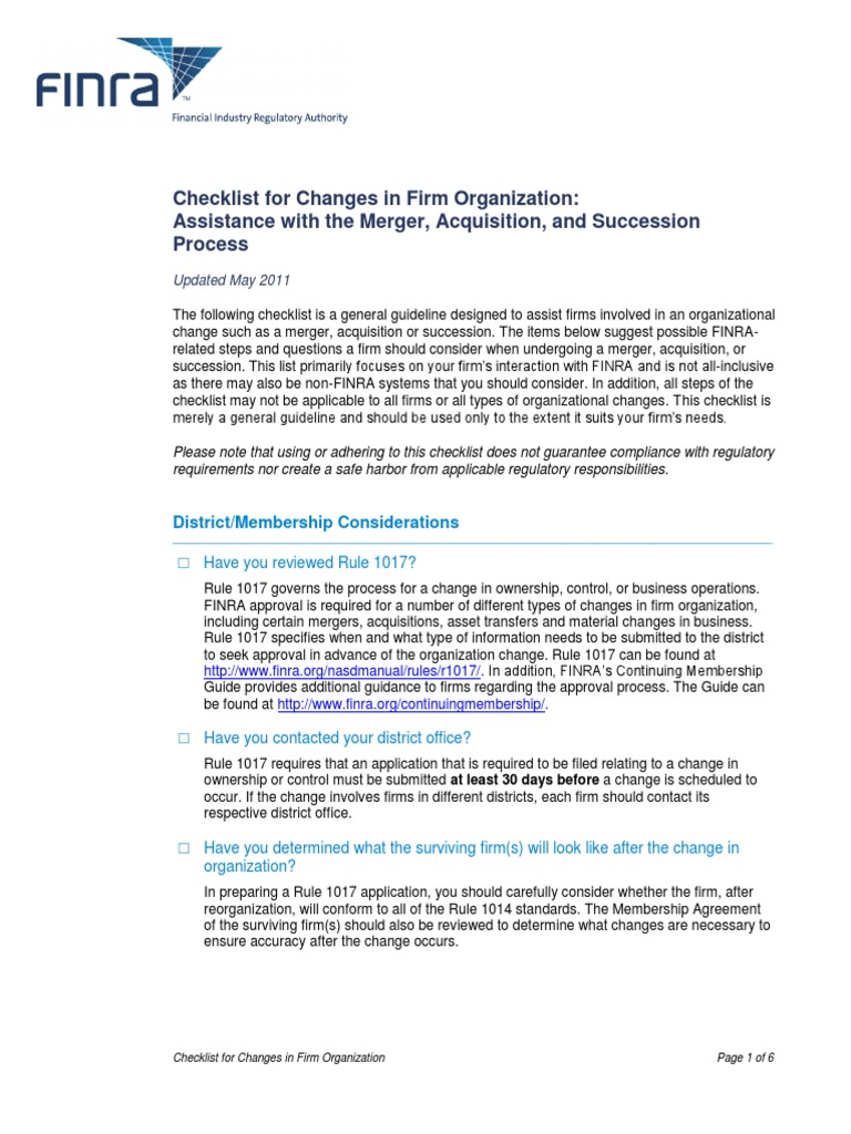 Org Change Checklist Financial Industry Regulatory Authority