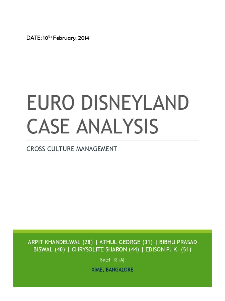 euro disneyland case study the walt disney company