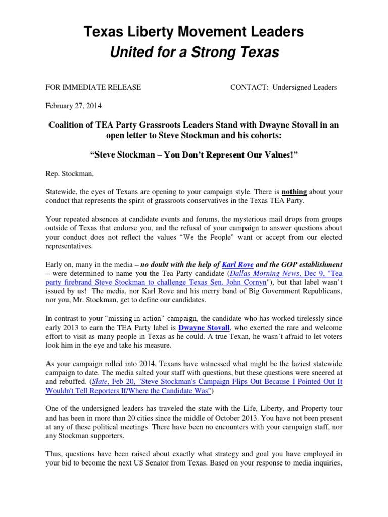 Stockman TP Open Letter Tea Party Movement
