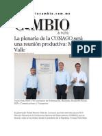 25-02-2014 Diario Matutino Cambio de Puebla - La plenaria de la CONAGO será una reunión productiva, Moreno Valle