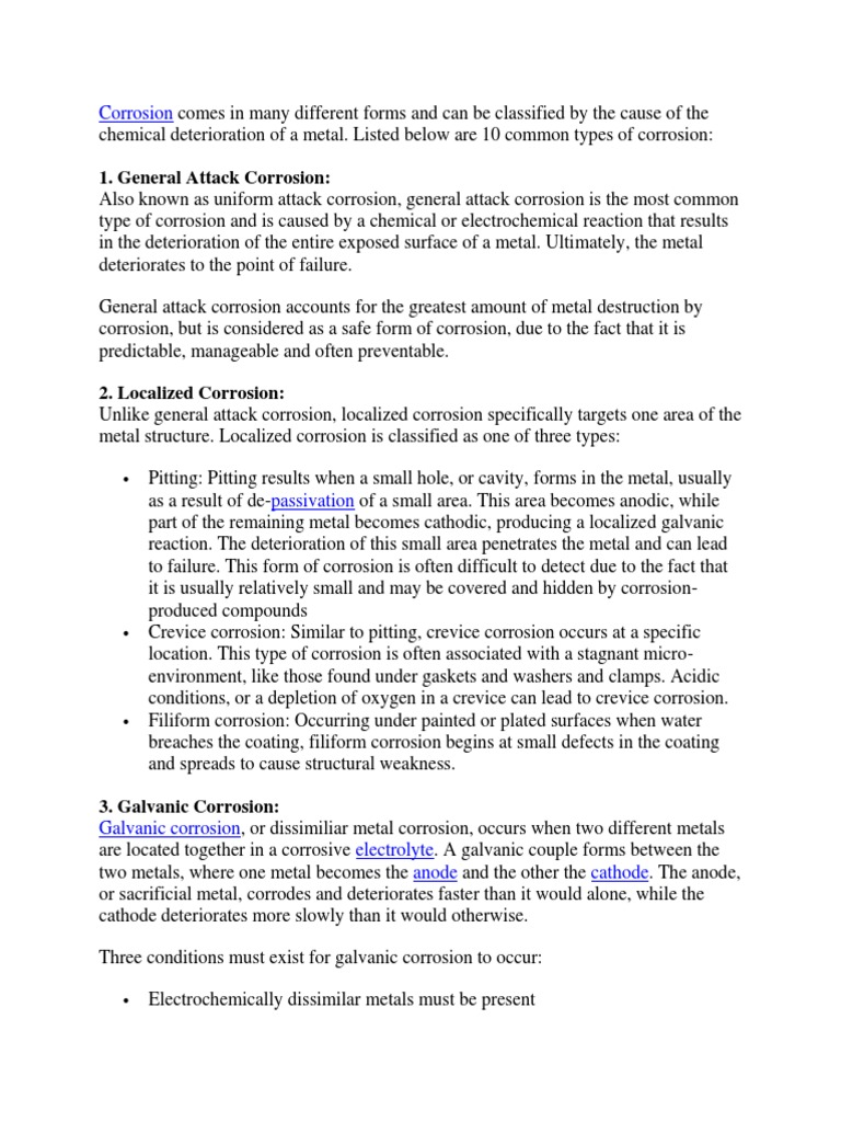 8 Forms Of Corrosion Corrosion Chemical Processes