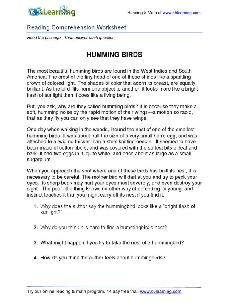 - Reading Comprehension Worksheet Grade 5 Hummingbirds