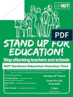 Northern Education Question Time, 7.30pm, 24 March, Centre for Life, Newcastle