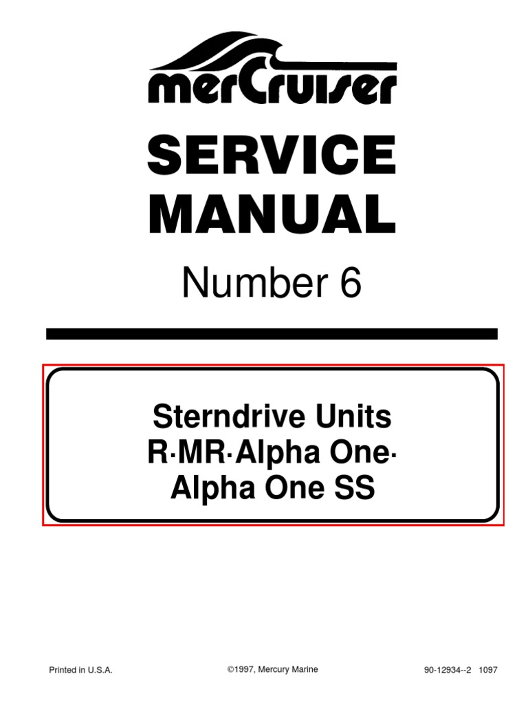 Mercruiser Service Manual 6 Outdrives R/MR/Alpha One/Alpha SS | Paint | Nut  (Hardware)