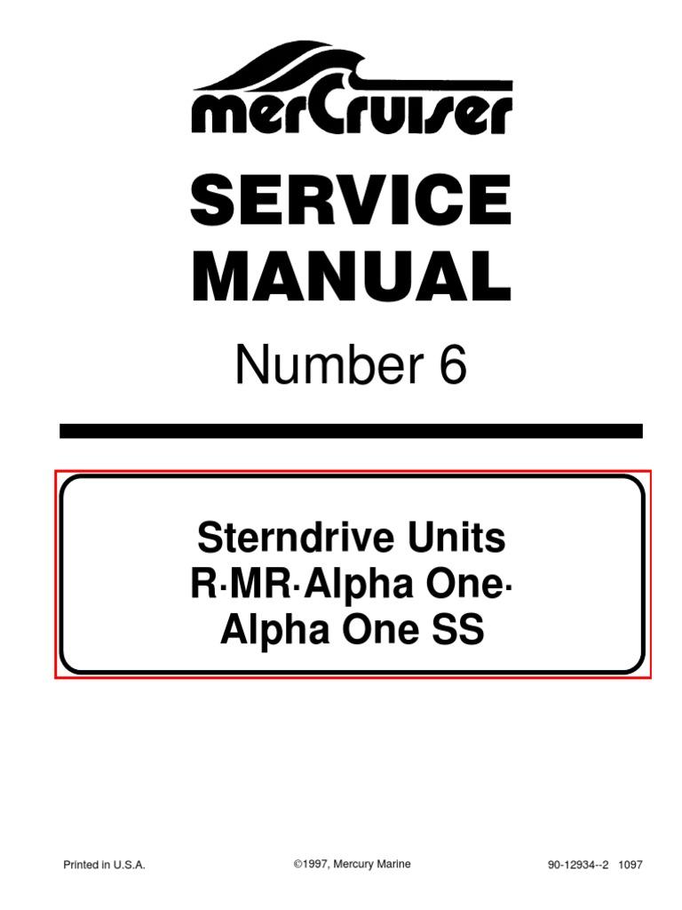 Mercruiser Service Manual 6 Outdrives R/MR/Alpha One/Alpha