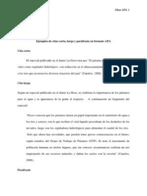 Ejemplos De Citas Corta Larga Y Paráfrasis