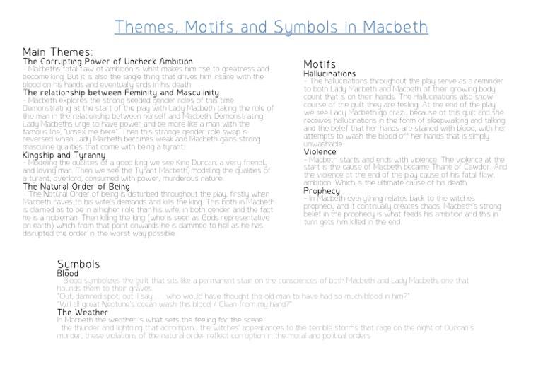 Themes Motifs And Symbols In Macbeth Macbeth