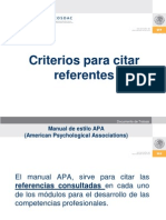 d) Criterios Para Citar Referentes APA