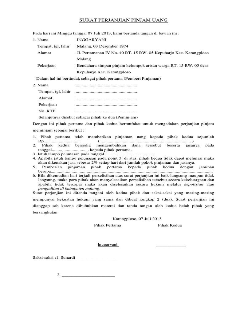 Contoh Surat Perjanjian Pinjaman Uang Dengan Jaminan ...