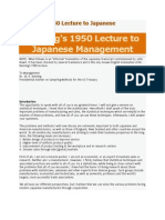Deming's 1950 Lecture to Japanese Management