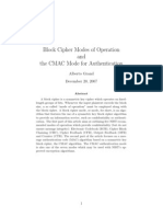 Block Cipher Modes of Operation and CMAC for Authentication