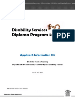 Diploma of Disabilty Services Application Information Kit
