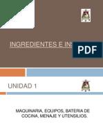 Ingredientes e Insumos Diapositivas