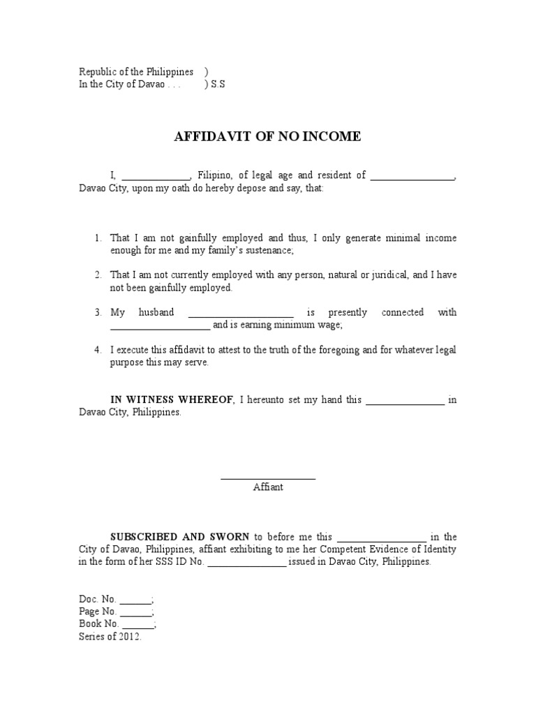 Affidavit Of No Income  Affidavit Template Doc